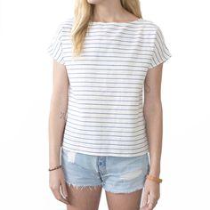 Image of Arrow Tee Blue Pin Stripe Cotton