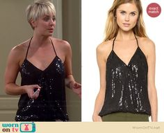 Penny's black sequinned halter top and lace shorts on The Big Bang Theory. Outfit Details: https://wornontv.net/38206/ #TheBigBangTheory