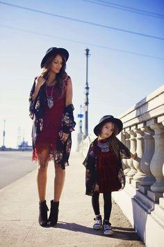 :: mommy & me :: black floral kimono ::