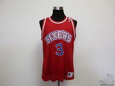 Vtg 90s Champion Philadelphia 76ers Allen Iverson #3 Basketball Jersey sz 44 #Champion #Philadelphia76ers