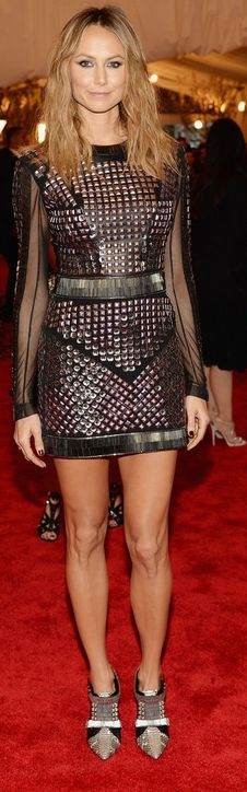 Stacy Keibler at the 2013 Met Gala in New York: Dress – Rachel Roy  Jewelry – Jacob & Co.