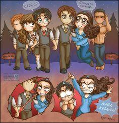 Harry Potter & Twilight: Ron, Hermiona, Harry, Cedric/Edward, Bella/Bellatrix and Jacob