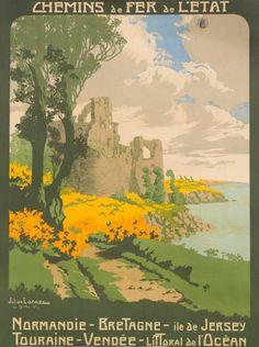 Chemins de Fer de l'État - Le Guildo - Côtes d'Armor - Bretagne - illustration de Julien Lacaze - 1911 - France -