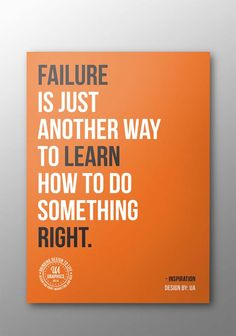 """QUOTE BANNER – Typographic banner design about Failure: """"Failure is just another way to learn how to do something right""""."""