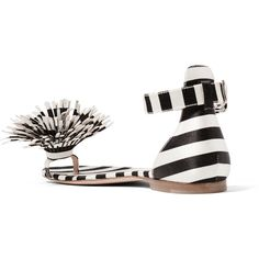Monse + Mariela Montiel striped duchesse-satin sandals (3.605 RON) ❤ liked on Polyvore featuring shoes, sandals, strappy sandals, striped flats, black flat shoes, black strappy shoes and black flats