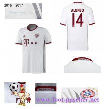 Bundesliga: Maillot Football Bayern Munich Blanc (ALONSO 14) Third 2016 2017…