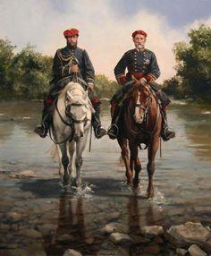 El General Zalduendo, jefe de la 1ª División Navarra del Ejército Carlista, junto con su ayudante. 3ª Guerra Carlista. Cuadro de Ferrer Dalmau
