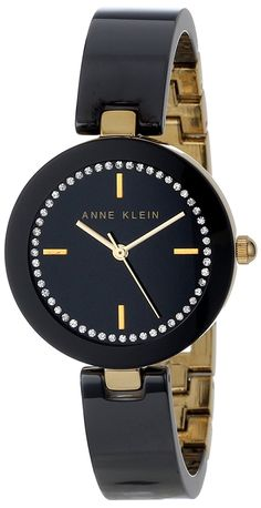 Anne Klein Women's AK/1314BKBK Swarovski Crystal Accented Gold-Tone Black Ceramic Bangle Watch -- You can get more details by clicking on the image.