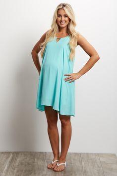 Mint Green Chiffon Cutout Maternity Mini Dress