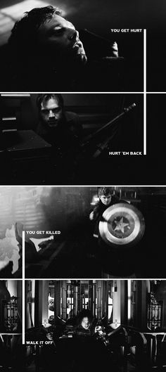 You get hurt, hurt 'em back. You get killed... Walk it off. - Cap... My favorite line in Age of Ultron, love this!