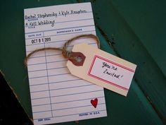 Vintage Library Card Wedding Invitations. Nostalgia at its' finest.. $50.00, via Etsy.