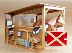 Two stall horse stable with tack room by NewcastleWoodworks Toy Horse Stable, Schleich Horses Stable, Horse Stables, Horse Barns, Horse Age, Barbie Horse, Bryer Horses, Horse Barn Plans, Toy Barn