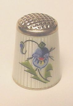 Sterling Silver Thimble w White Guilloche Body and Painted Pansy | eBay / Feb 23, 2014 / US $164.50