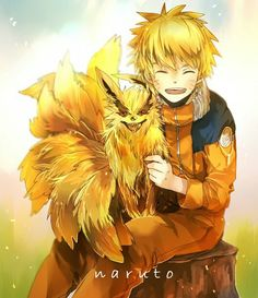 "Naruto (hoofdpersoon populaire anime/manga serie ""Naruto"") with the Nine Tailed Fox/Kyuubi (Japans Mythologisch dier)"