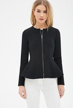 Scuba Knit Peplum Jacket | FOREVER21 - 2000117923