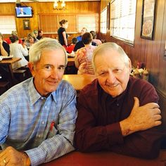 "It all began in a small town called Gainesville, Florida. Now we're smokin' all over the place!  Check out founder Floyd ""Sonny"" Tillman and the first Sonny's BBQ franchisee, John Kirkpatrick, enjoying some quality time.#SonnysBBQ #Sonnys#BBQ #beef #ribs #turkey #roast #southern #eat #lunch #dinner #meat"