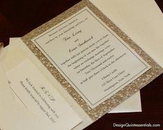 RESERVED for Jessica Gilbert - Champagne Embossed Pebble Wedding Pocket Fold Invitation Suite. $14.00, via Etsy.