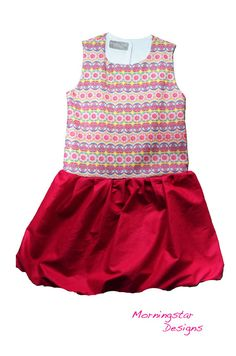Items similar to Peplum Bubble Dress. Pink yellow and blue. Sizes and on Etsy Pink Yellow, Fabric Design, Peplum, Girl Fashion, Bubbles, Rompers, Book, Cotton, Kids