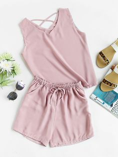 Criss Cross Back Tank Top And Shorts Set Mobile Site