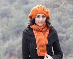 Pumpkin Knit Scarf - Custom and Handmade for You - Knit muffler - Winter fashion in orange - Christmas Gift for her