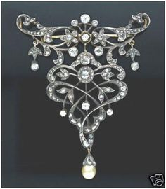 """""""Sileas""""...only $950 or P41,800!! Antique Reproduction !!! 3.48ct Diamond & Pearl Brooch! Imported, world-class quality, not pre-owned, not pawned, not stolen. We deliver worldwide <3"""