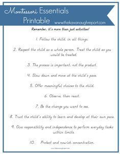 The Kavanaugh Report: Montessori Essentials with Free Printable