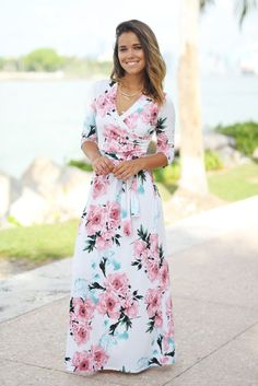 Gorgeous with a cami! Saved by the Dress - Ivory Floral Wrap Maxi Dress 59.00