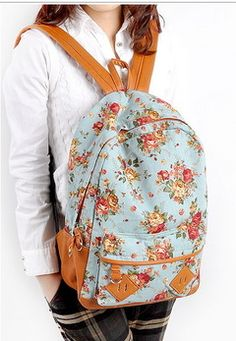 Target:Mossimo Floral Backpack | ... Cute Kawaii Punk floral Shoulders School Bag Backpacks Bookbags Blue