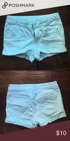 H&M kids size 9/10 light blue shorts! Light blue kids size 9/10 shorts! They are super stretchy and fit tight! H&M Bottoms Shorts