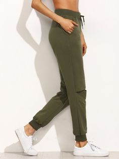 Army Green Tie Cut Out Knee Long PantsFor Women-romwe
