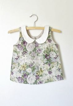 Girls Handmade Floral Linen Blouse | Dabishoo on Etsy