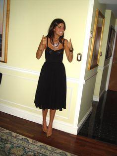 "Midi black dress.  Leandra Medine aka ""The Man Repeller"""