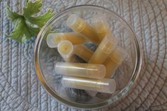 Homemade natural lip balm: 1/4 cup organic extra virgin coconut oil, 1/4 cup shea butter, 1/4 cup beeswax (pastilles, for easier melting), 20 drops of Lavender essential oil.