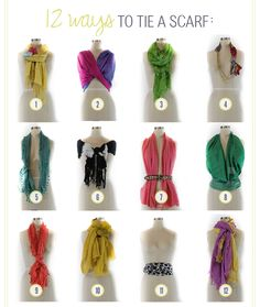 Stumped for creative ways to tie your neck scarves? Try these tips! ♥1. Yellow Scarf: Add a corsage to spice up your scarf. ♥2. Pink and Purple Scarf: Use an infinity scarf as a shawl. ♥3. Lime Gre...