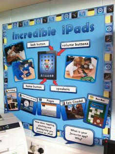 """Incredible iPads"" bulletin board showing labeled buttons on an iPad and images of different apps. Class Displays, School Displays, Library Displays, Classroom Display Boards, Classroom Organisation, School Display Boards, Primary Classroom Displays, Eyfs Classroom, School Classroom"