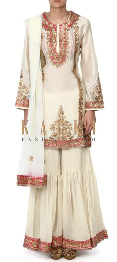 Buy this Cream straight suit wiht gharara pant only on Kalki