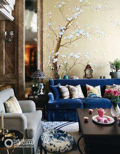 El paisaje único y la vida relajante sala de estar con hogar convivencia Azul _ espacio sabor _ ...