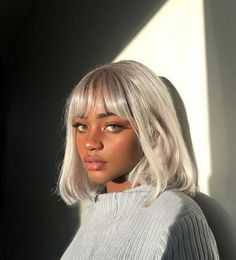 Beautiful black girl with glowing brown skin, green eyes, full lips, long lashes, and gray/silver hair. Natural Hair Styles, Short Hair Styles, Grunge Hair, Trendy Hairstyles, Bob Hairstyles, Fashion Hairstyles, American Hairstyles, Bob Haircuts, Black Hairstyles