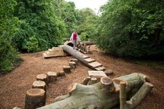 """""""Come and test your balance in Kew's natural play area, located among the trees in the Conservation Area"""" Natural Play Spaces, Outdoor Play Spaces, Kids Outdoor Play, Kids Play Area, Outdoor Learning, Backyard For Kids, Outdoor Fun, Backyard Games, Outdoor Games"""