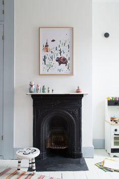 Modern Scandi Kids Room Makeover | original Victorian cast iron fireplace | white painted wooden floorboards | grey-blue woodwork | bunk beds | kids room decor | kids room revamp | shared children's bedrooms