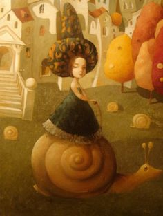 Emzar Kiknavelidze 1964 was born in the city of Zestafoni, Georgia. - it was trained at the Tbilisi art school . Snail Art, Various Artists, Illustrations, Art School, Disney Princess, Disney Characters, Artwork, Painting, Animals