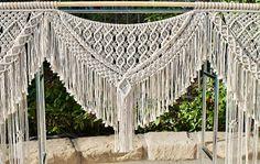 Custom macrame wedding arch backdrop curtain Santa Barbara Knot Co.