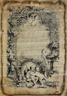 Antique Music Page Shabby Chic Grunge Cherubs Decoupage Tattered Background Musical Notes Engraving Digital Collage Sheet 428