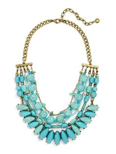 Channel mermaid vibes in this statement collar, featuring a smattering of cracked turquoise. Wear with an off-white blouse or tee. Stones may show surface variance.