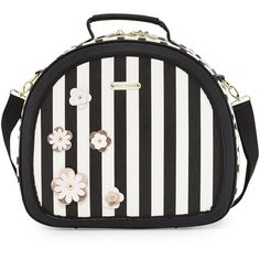 Betsey Johnson Hat Box Round Weekender Bag ($84) ❤ liked on Polyvore featuring bags, luggage and black pattern