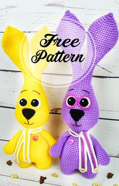 Let& crochet a purple bunny amigurumi! With this free crochet . - Let& crochet a purple bunny amigurumi! With this free crochet pattern you get a rabbit that i - Crochet Pattern Free, Crochet Gratis, Crochet Patterns Amigurumi, Crochet Toys, Easy Knitting Projects, Easy Knitting Patterns, Knitting Needle Conversion Chart, Amigurumi Free, Knitted Teddy Bear