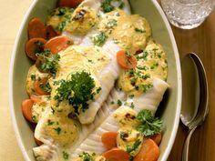 Seelachs überbacken auf Senfmöhren - smarter - Kalorien: 330 Kcal - Zeit: 30 Min. | eatsmarter.de