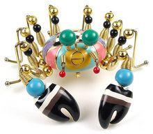 Whimsical NY Artisan Enamel, Bead and Metal Figural Crab Brooch