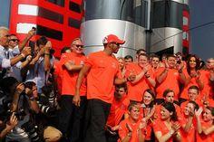 Race winner Lewis Hamilton (GBR) McLaren celebrates wit the team.  Formula One World Championship, Rd 13, Italian Grand Prix, Race, Monza, Italy, Sunday, 9 September 2012