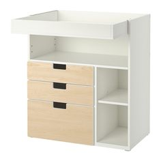 STUVA Changing table with 3 drawers - white/birch - IKEA